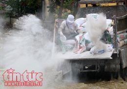 Rắc vôi bột để vệ sinh môi trường tại các xã thuộc huyện Chương Mỹ