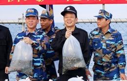Lực lượng cảnh sát biển Việt Nam – Trung Quốc thả cá giống trên biển