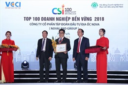 Novaland được vinh danh Top 100 Doanh nghiệp bền vững năm 2018