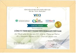Herbalife – Top 100 doanh nghiệp bền vững Việt Nam 2018
