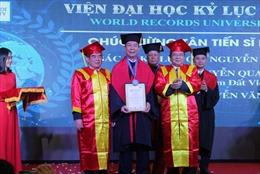 AHLĐ Nguyễn Quang Mâu nhận danh hiệu Tiến sĩ danh dự của Viện Đại học Kỷ lục Thế giới
