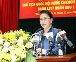 Chủ tịch Quốc hội Nguyễn Thị Kim Ngân thăm và làm việc tại Bộ Tư lệnh Quân khu I