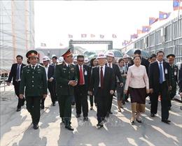 Tổng Bí thư, Chủ tịch nước Nguyễn Phú Trọng đến thăm dự án xây dựng Nhà Quốc hội Lào