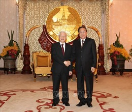 Tổng Bí thư, Chủ tịch nước gặp nguyên Tổng Bí thư, nguyên Chủ tịch nước Lào Choumaly Sayasone