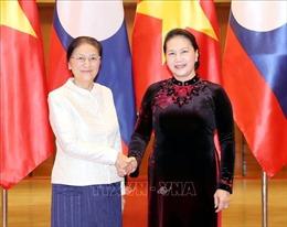 Chủ tịch Quốc hội đón, làm việc với Chủ tịch Quốc hội Lào Pany Yathotou