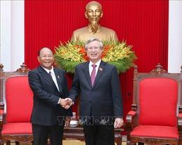 Thường trực Ban Bí thư Trần Quốc Vượng tiếp Chủ tịch Quốc hội Campuchia
