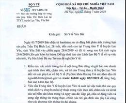 Bộ Y tế yêu cầu xác minh nguyên nhân sản phụ tử vong sau sinh tại Yên Bái