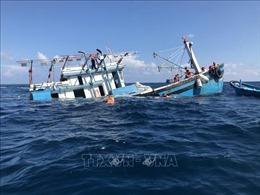 Tàu cá Bình Định va vào bãi đá ngầm tại Trường Sa, 12 ngư dân được cứu thoát