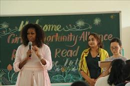 Cựu Đệ nhất Phu nhân Tổng thống Mỹ Michelle Obama thăm trường học tại Long An