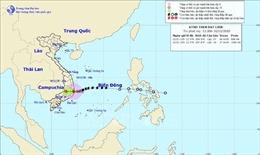 Gần Biển Đông có bão giật cấp 16, áp thấp nhiệt đới đi sâu vào đất liền