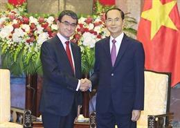 Chủ tịch nước Trần Đại Quang tiếp Bộ trưởng Ngoại giao Nhật Bản Taro Kono