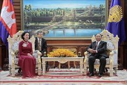 Chủ tịch danh dự CPP, Chủ tịch Quốc hội Campuchia tiếp Đoàn đại biểu cấp cao Đảng ta