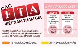 Các FTA Việt Nam tham gia tính đến tháng 12/2020