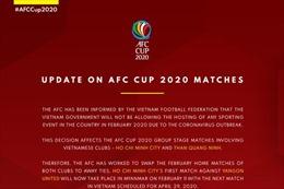 Thay đổi lịch thi đấu của TP HCM và Than Quảng Ninh tại AFC Cup 2020 vì lo ngại virus Corona