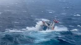 Video giải cứu ngoạn mục thủy thủ trên tàu hàng trôi dạt giữa bão lớn