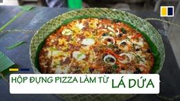 Độc đáo hộp đựng pizza làm từ lá dứa tại Philippines