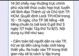 TP Hồ Chí Minh bác bỏ thông tin lan truyền 'lock TP.HCM trong 10-15 ngày'
