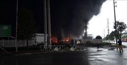 Cháy lớn tại công ty sản xuất nhựa xốp ở khu công nghiệp Vân Trung