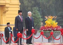 Tổng Bí thư, Chủ tịch nước Nguyễn Phú Trọng chủ trì Lễ đón Quốc vương Brunei Darussalam