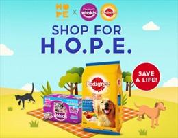 Nhãn hiệu thức ăn cho chó mèo WHISKAS®, PEDIGREE® hợp tác với H.O.P.E. cứu thú cưng