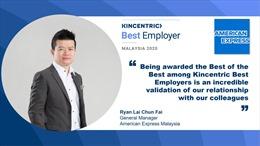 American Express Malaysia được Kincentric công nhận là nhà sử dụng lao động đặc biệt xuất sắc