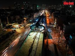 Thi công xuyên đêm trên công trường vành đai 2 trên cao Vĩnh Tuy- Ngã Tư Sở