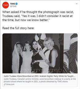 Thủ tướng Canada thừa nhận sai lầm khi hóa trang thành da màu cách đây 18 năm