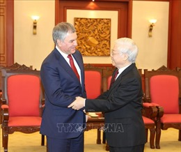 Tổng Bí thư, Chủ tịch nước Nguyễn Phú Trọng tiếp thân mật Chủ tịch Duma Quốc gia Nga