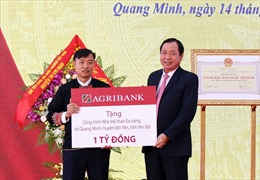 Agribank tặng xã Nông thôn mới Quang Minh 01 tỷ đồng để xây nhà thi đấu đa năng