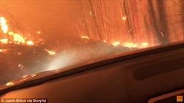 Khoảnh khắc hai cha con lái xe vượt biển lửa thoát chết trong gang tấc