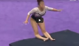 Nữ VĐV thể dục dụng cụ Mỹ gãy cả hai chân trong tai nạn kinh hoàng