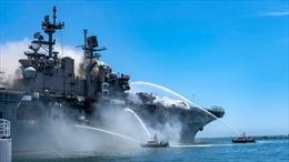 Chiến hạm bốc cháy, Hải quân Mỹ khó triển khai đội hình ở Thái Bình Dương