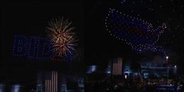 Mãn nhãn với tiệc ánh sáng từ drone mừng ông Biden chiến thắng