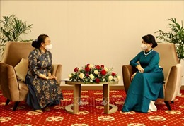 Phu nhân Chủ tịch nước tiếp đại diện Trường Song ngữ Lào – Việt Nam Nguyễn Du