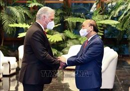 Chủ tịch nước Nguyễn Xuân Phúc hội đàm với Chủ tịch Cuba Miguel Díaz-Canel
