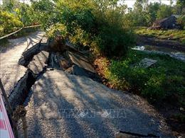 Sụp lún nghiêm trọng tuyến giao thông từ Co Xáng đi Đá Bạc, Cà Mau
