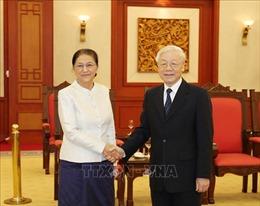 Tổng Bí thư, Chủ tịch nước Nguyễn Phú Trọng tiếp Chủ tịch Quốc hội Lào