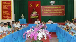 Phó Thủ tướng Vương Đình Huệ thị sát khu vực xây dựng cầu nối Trà Vinh và Sóc Trăng