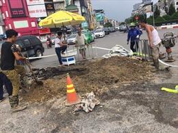 Hà Nội: Khắc phục xong sự cố vỡ đường ống nước