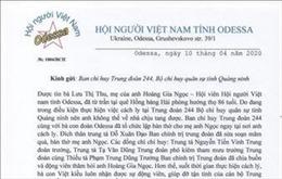 Hội Người Việt Nam tỉnh Odessa (Ukraina) gửi thư cảm ơn Trung đoàn 244
