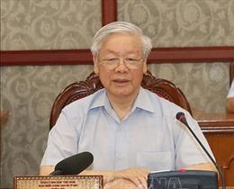 Tổng Bí thư, Chủ tịch nước Nguyễn Phú Trọng chủ trì cuộc họp với Ban Thường vụ Tỉnh ủy Thanh Hóa