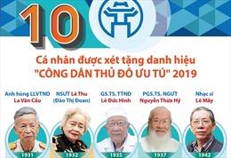 10 cá nhân được xét tặng danh hiệu 'Công dân Thủ đô ưu tú' 2019