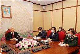Tổng Bí thư, Chủ tịch nước Nguyễn Phú Trọng điện đàm với Tổng Bí thư, Chủ tịch nước Lào