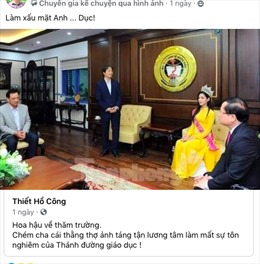 Cộng đồng mạng tranh luận về bức ảnh hoa hậu Việt Nam về thăm trường đại học