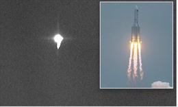 Hình ảnh đầu tiên lõi tên lửa Trung Quốc lao không kiểm soát trước khi rơi lại Trái đất