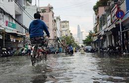 Nhiều tuyến đường TP Hồ Chí Minh ngập sâu khi triều cường dâng cao 1,66 m