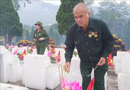Cựu chiến binh dâng hương tại Nghĩa trang Quốc gia Vị Xuyên
