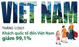 Tháng 1/2021: Khách quốc tế đến Việt Nam giảm 99,1%