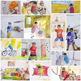 Cuộc sống bình dị của người Hà Nội trong dịch COVID-19 qua nét vẽ ký họa