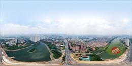 Công trường 2 cầu vượt thấp qua bán đảo Linh Đàm